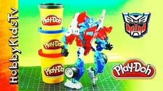 Play Doh Optimus Prime -morph- Box Open, Build --megatron Construct Transformer Bots