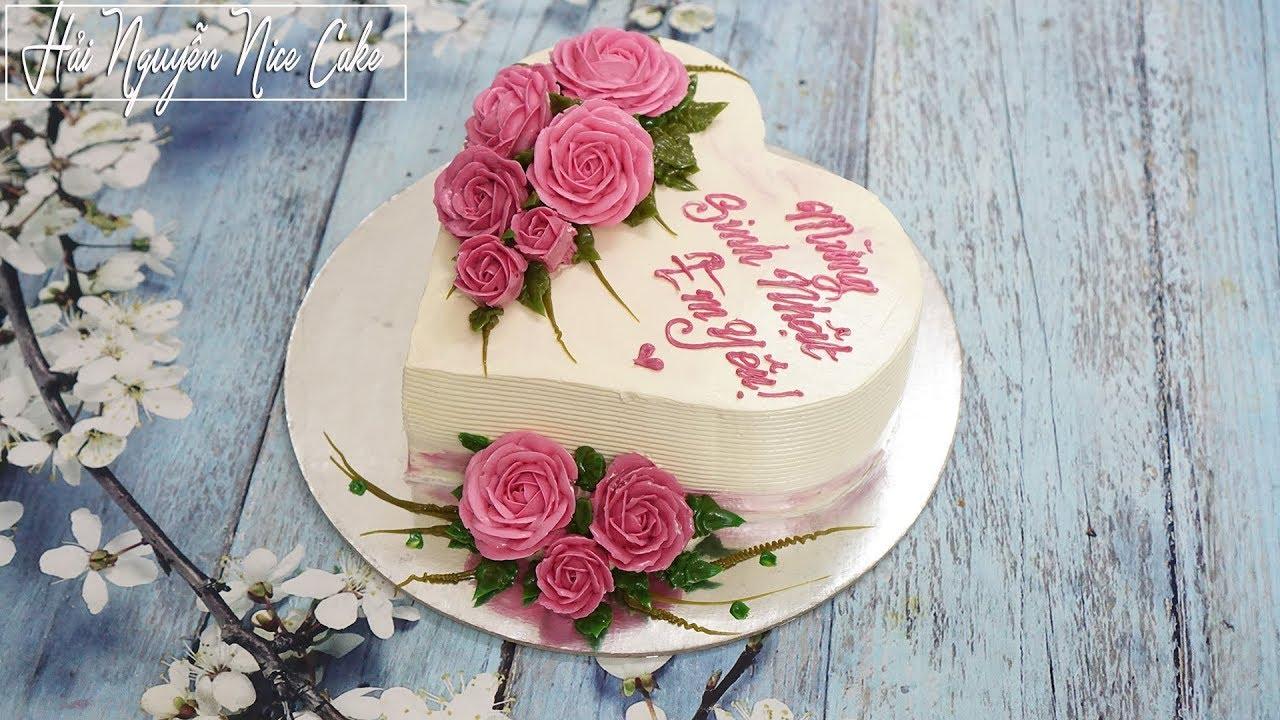 Bánh Sinh Nhật Hình Tim Trang Trí Hoa Hồng Lãng Mạn – Decorate Heart Cake With Romatic Flowers