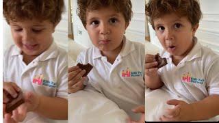 نايثن ابن جويل يأكل شكولا 🍫فرحان بعودة جويل عل بيت  شو حلو ماشاء الله 🥰