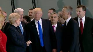 Donald Trump Pushes NATO Leader Out Of Way To Get In Front Of Crowd