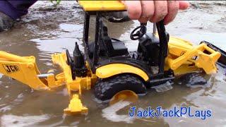 Toy Trucks for Kids: Bruder Construction Trucks: JCB Backhoe Digging in Mud