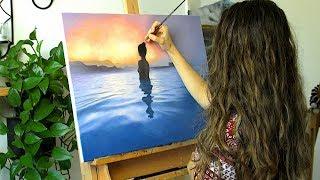 "Oil Painting Time Lapse |""Blue Lagoon"" | Lena"