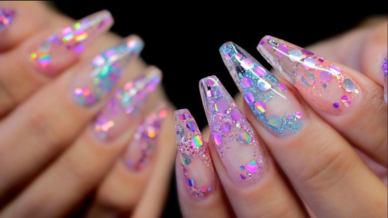 hard gel glass glitter tip nails
