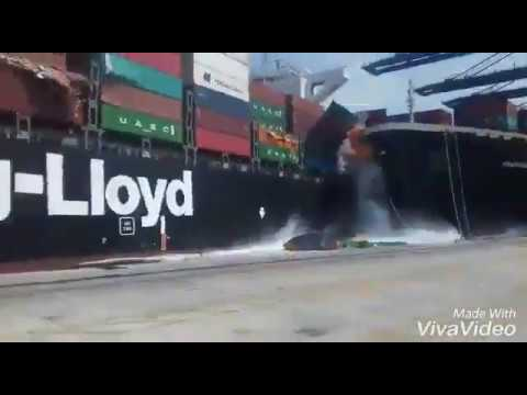 Heavy Ships containers loaded Dangerous Accident at karachi port.