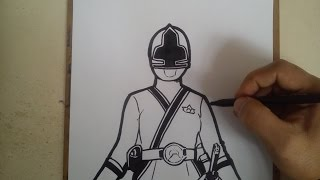 COMO DIBUJAR POWER RANGER SAMURAI AMARILLO / how to draw power ranger samurai yellow