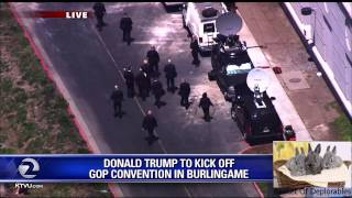 Donald Trump and Hope Hicks 1st California GOP Convention backdoor Secret Service HD 2016 APR 29