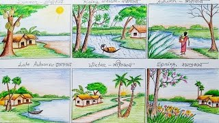 How to draw scenery of six season step by step
