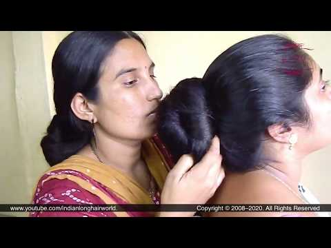 Seductive Passionate Bun Smelling By Ganga & Deepa With Each Other Lustrous Sensual Huge Hair Buns.