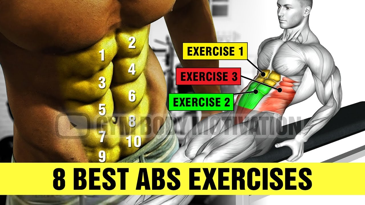 BEST 8 ABS EXERCISES for SIX PACK - Gym Body Motivation