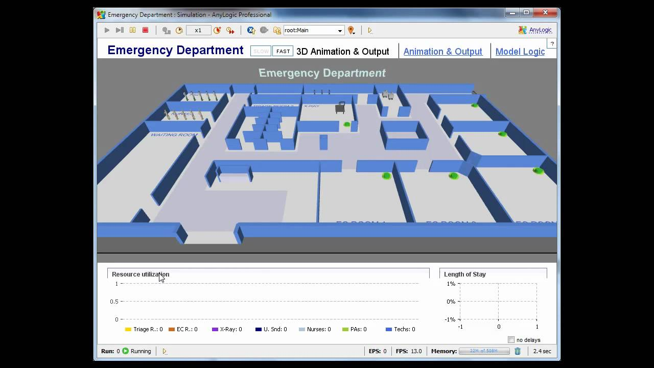 Simulation Software AnyLogic - Healthcare Model 3D