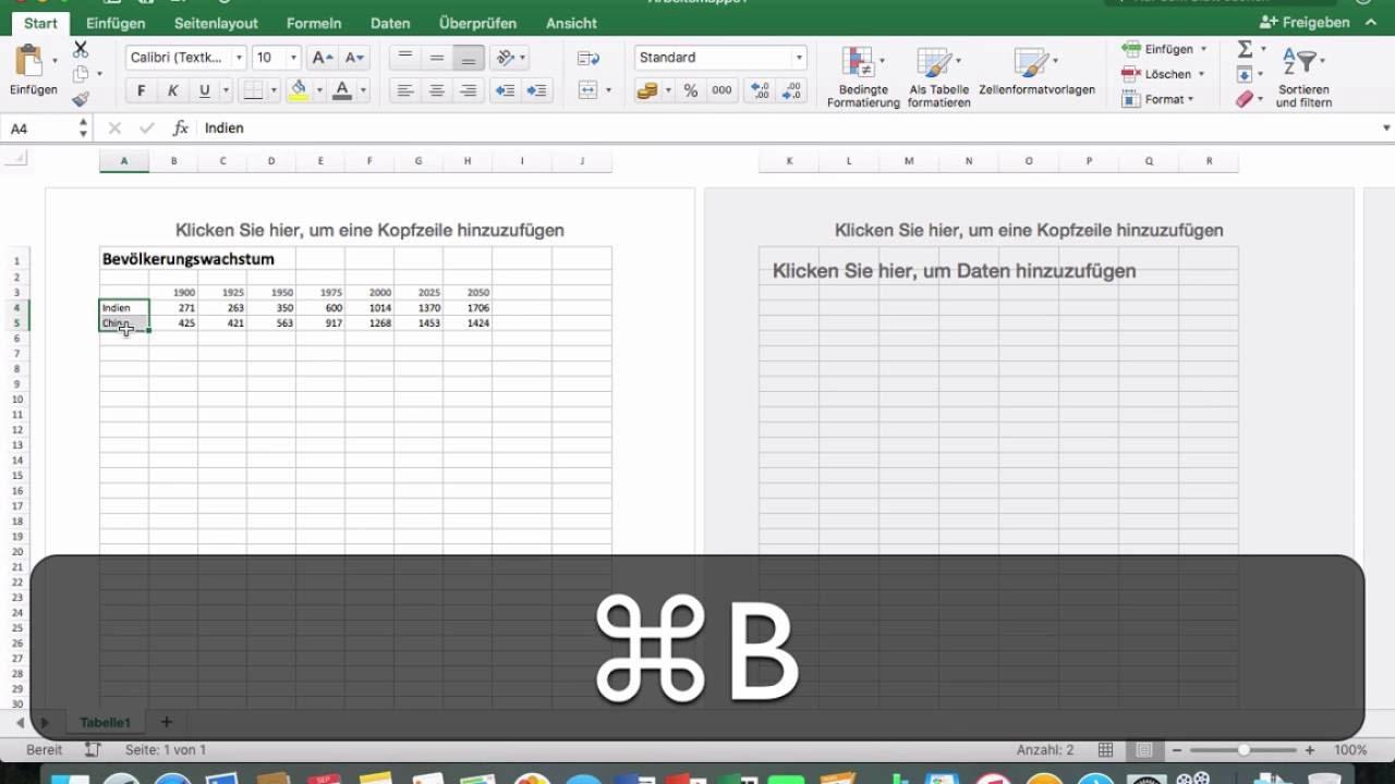 Excel 2016 Mac: 41 Vorbereitung für Diagramm - YouTube