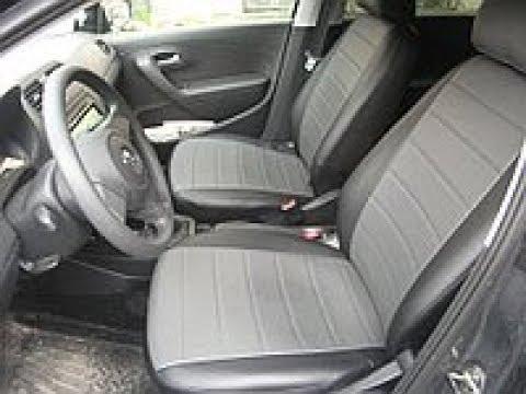 Установка чехлов из экокожи на VW Polo (седан), с подшитием.