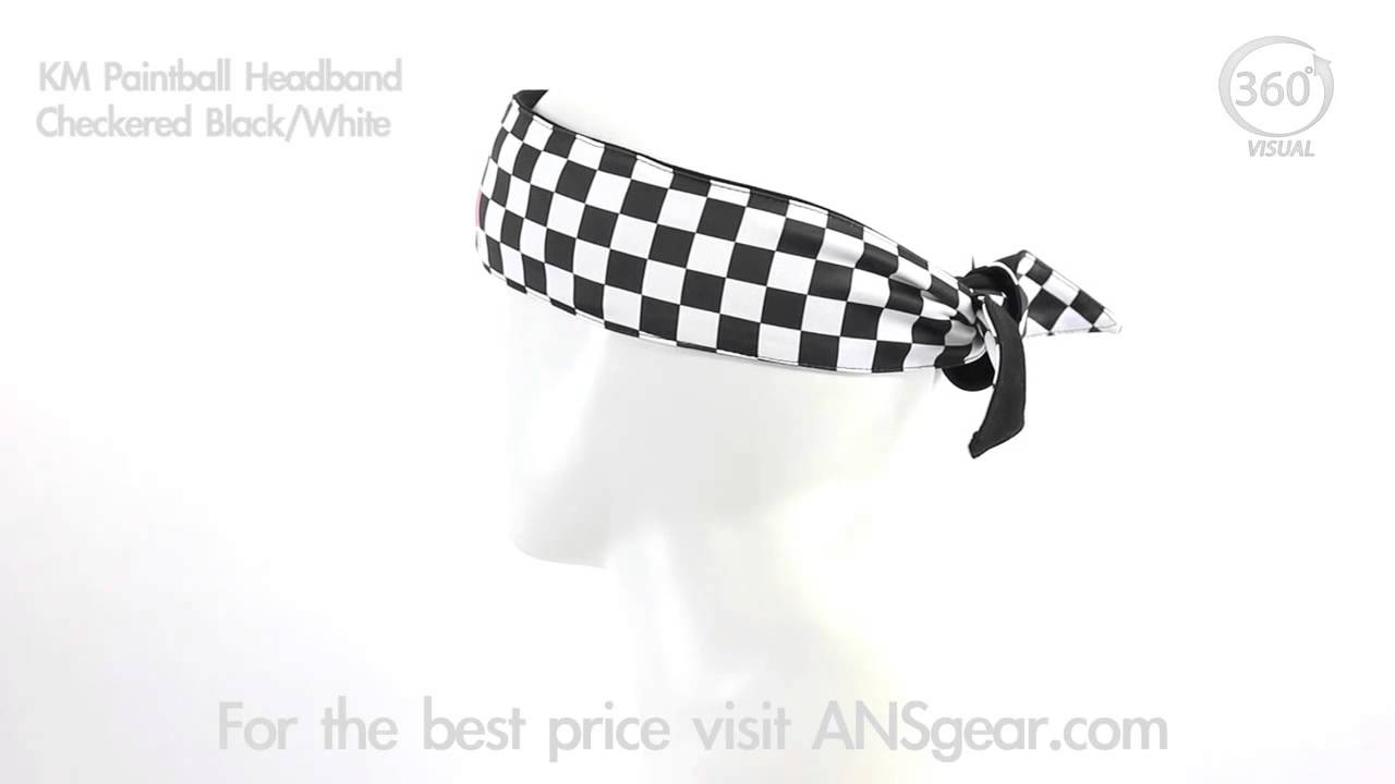 KM Paintball Headband - Checkered Black White - Visual 360 - YouTube e329e797b86
