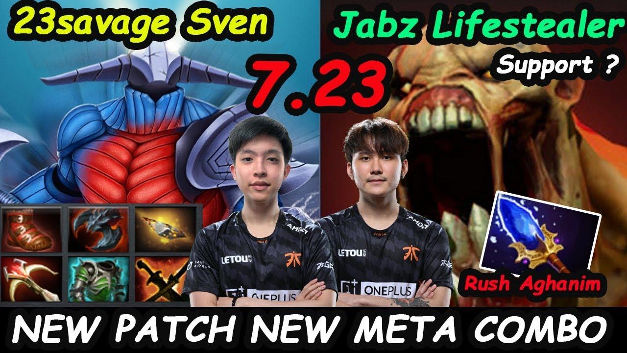 Fnatic.23savage [Sven] Carry Feat Jabz Support Lifestealer New Meta Combo 7.23 Dota 2 pro Gameplay