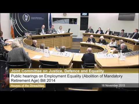 Age Action and Angela Gallagher at Oireachtas Joint Committee Meeting on Mandatory Retirement Age