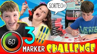 ¡¡3 MARKER CHALLENGE en 60 SEGUNDOS!! (coloreando con rotuladores) + 📕 Sorteo 5 LIBROS FIRMADOS