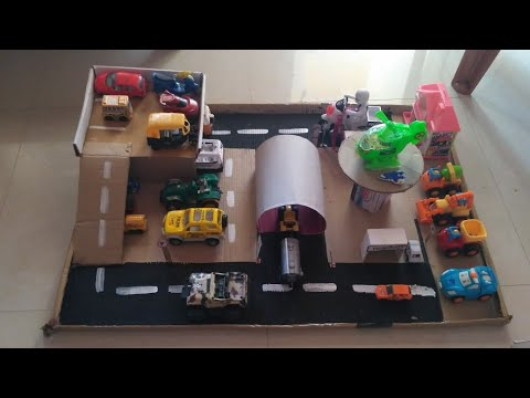 diy-toy-car-garage-|-vehicles-station-|kids-city-|parking-lots