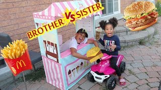 McDonald's Drive Thru Prank | Brother vs Sister | Kids Pretend Play