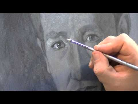 Painting a portrait using a grisaille (grey tone underpainting)