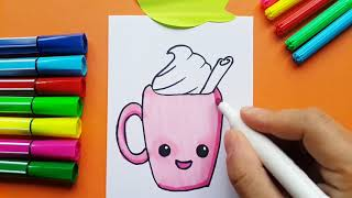 How To Draw Cup Of Kawaii Coffe ?