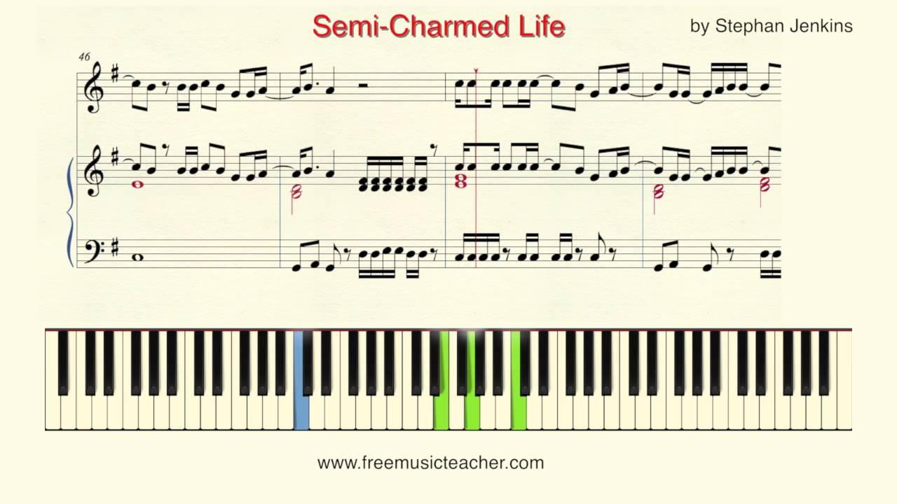 How To Play Piano Semi Charmed Life By Stephan Jenkins Piano
