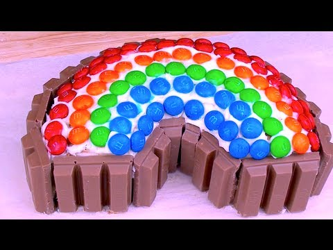 KIT KAT & M&M RAINBOW CAKE - How To Video