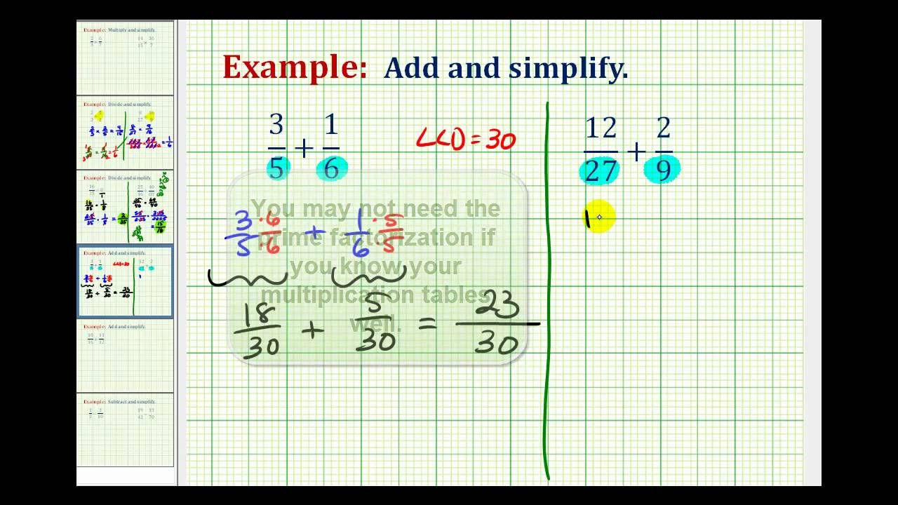 Example 1: Adding Fractions With Different Denominators
