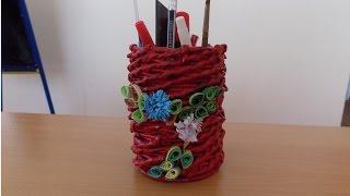 плетение из газетных трубочек пенал обзор