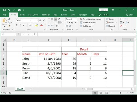 How To Calculate Age From Date Of Birth In MS Excel (Year, Month, Day)