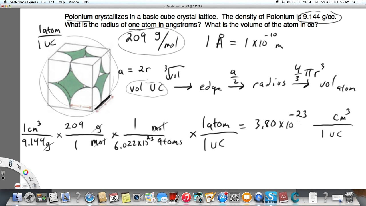 Finding radius and volume of atom from density and molar mass youtube finding radius and volume of atom from density and molar mass urtaz Images