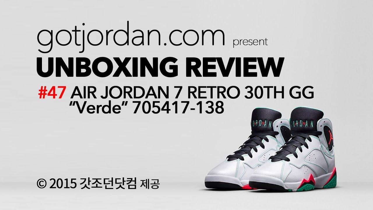 17e800a24ede 47 AIR JORDAN 7 RETRO 30TH GG VERDE Unboxing Review 705417-138 - YouTube