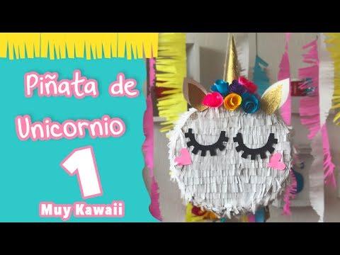 Mini Piñata De Unicornio Kawaii Envoltura Estilo Unicornio