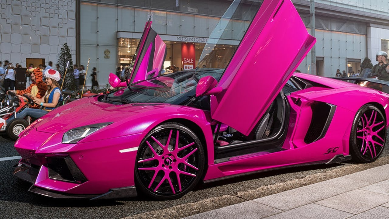 pink lamborghini aventador turns heads in tokyo | car news 24h - youtube