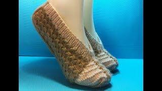 Вязание спицами Домашние тапочки # 193