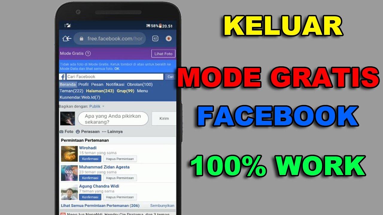 Cara Keluar Mode Gratis Facebook Di Android 100 Work Youtube