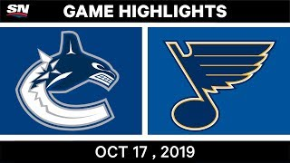 NHL Highlights | Canucks vs Blues - Oct 17 2019