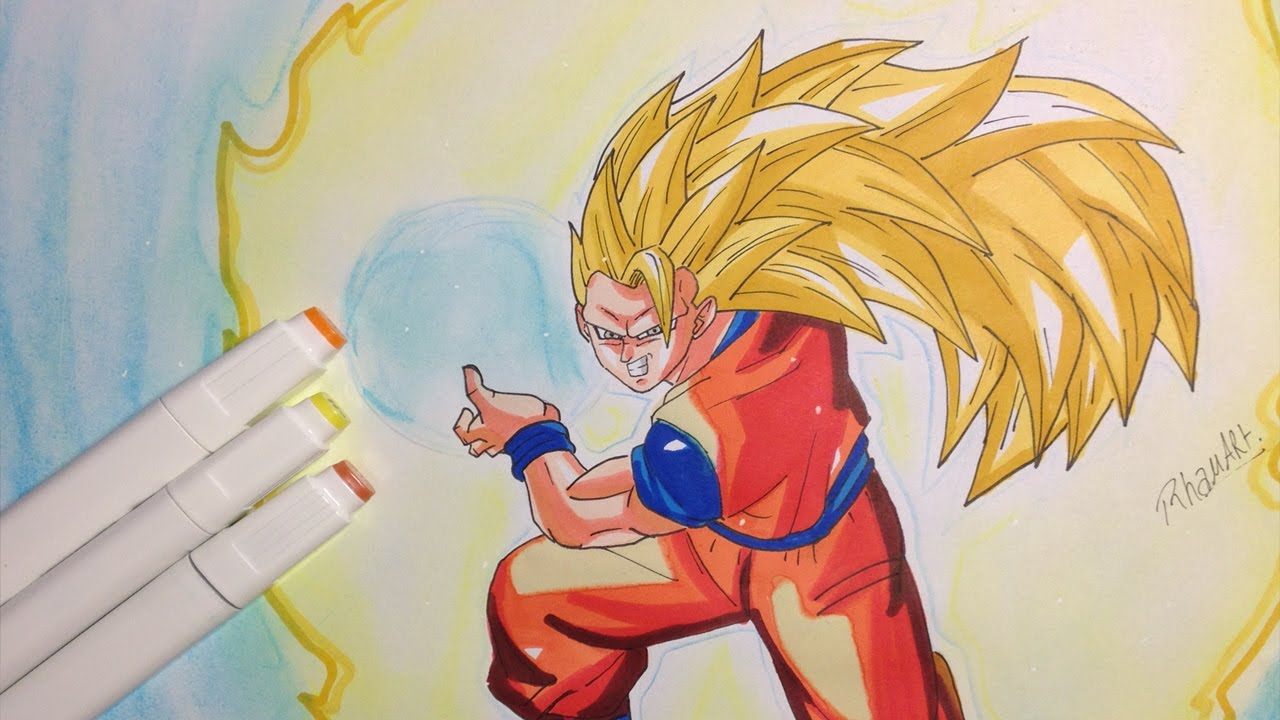 Drawing Goku Super Saiyan 3 ( Kamehameha) de Dragon Ball Z ...
