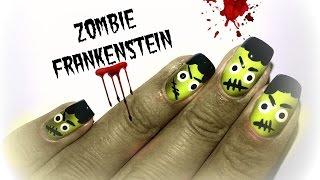 Дизайн ногтей: Зомби-Франкенштейн // Маникюр на Хеллоуин