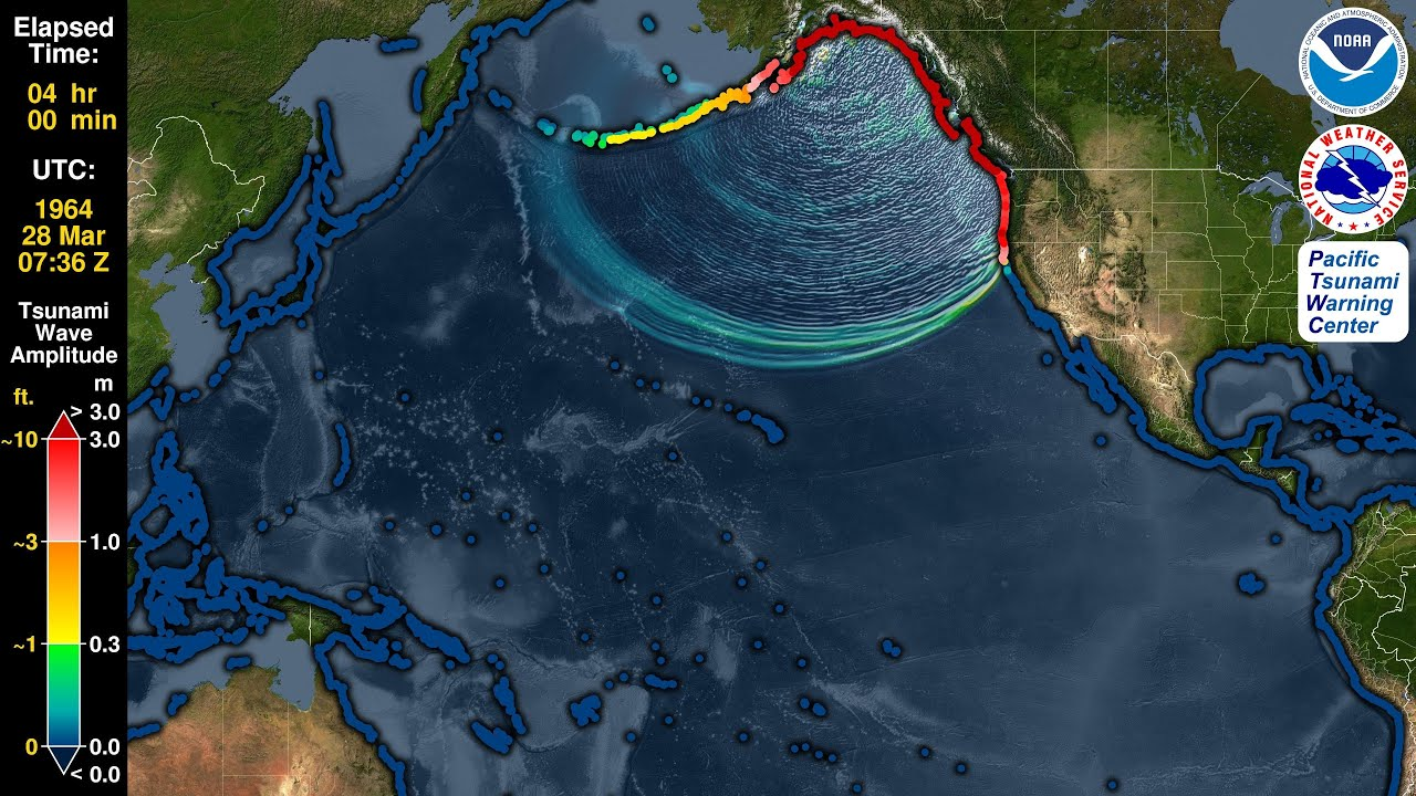 Tsunami Forecast Model Animation: Alaska 1964