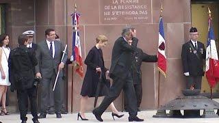 Mont Valérien: présence remarquée de Julie Gayet lors du déplacement de François Hollande