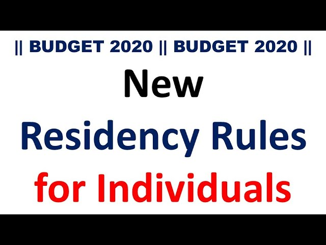 New Residency Rules for Individuals || Budgt 2020 || Change in Residential Status ||CA MANOJ GUPTA