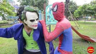 Spiderman vs elsa vs joker in real life   Spiderman Princesses Maleficent Joker Pink Spidergirl!