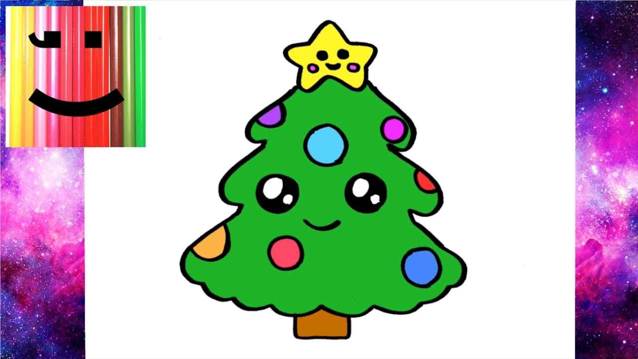 Comment dessiner un sapin de noel kawaii youtube - Dessin de noel a dessiner ...