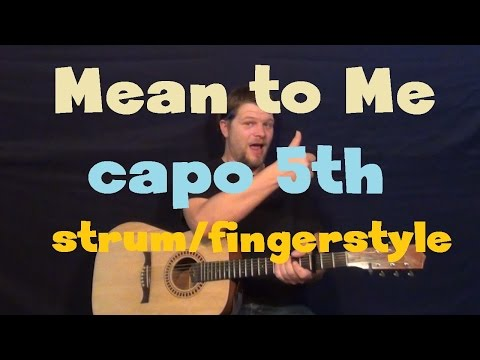 Mean To Me (Brett Eldredge) Guitar Lesson - Strum Fingerstyle How to Play Tutorial