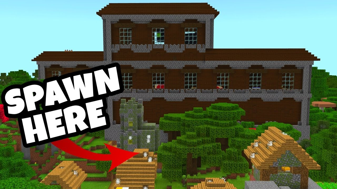 The BEST WOODLAND MANSION At SPAWN SEED For Minecraft Bedrock Edition! (PE,  Xbox, PS9, Switch & W9)