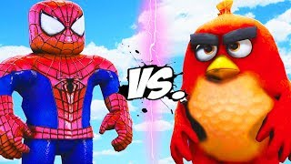 SPIDERMAN ROBLOX VS ANGRY BIRDS RED - BATALLA EPIC