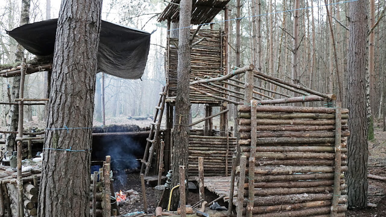Bushcraft Camp with Watch Tower: Off Grid Shelter Build