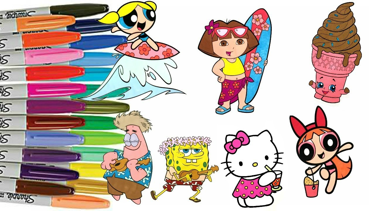 summer fun coloring book pages powerpuff girls hello kitty