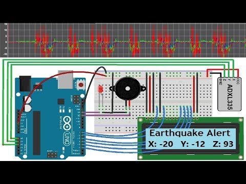 Earthquake Detector with Alarm & Seismic Graph using Accelerometer & Arduino