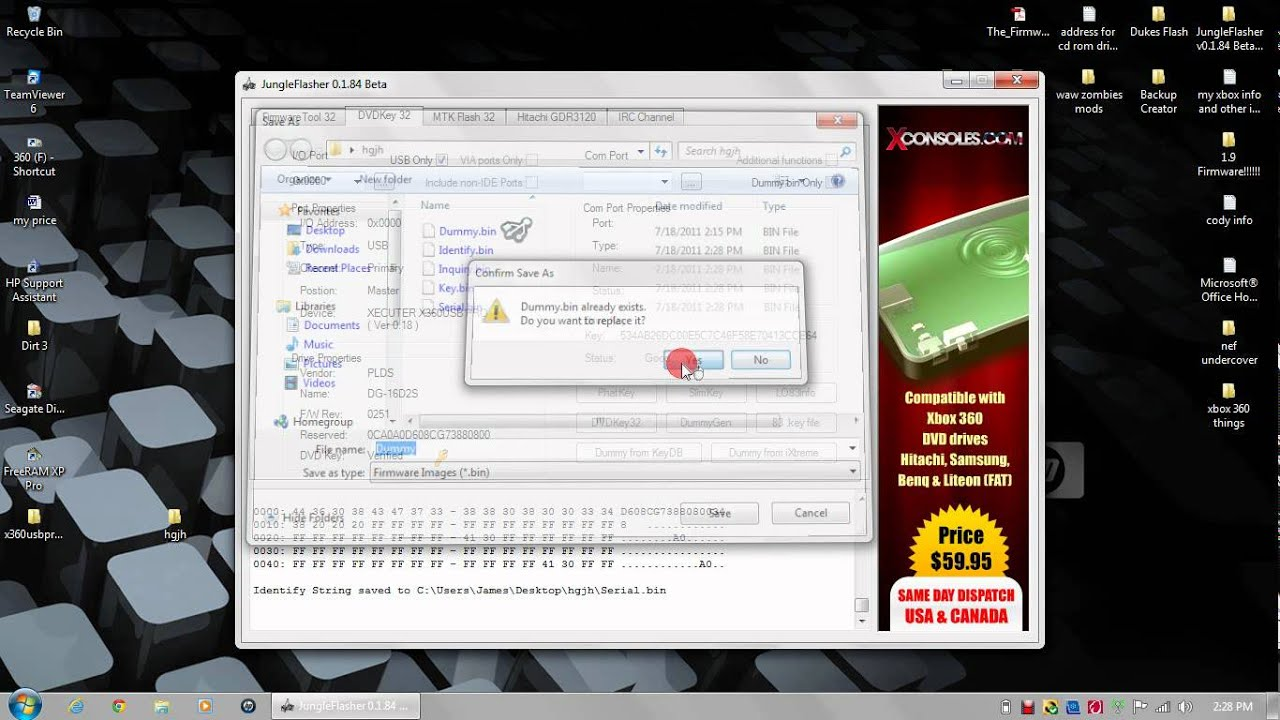 Flash XBOX 360 Lite-on DVD drive with spoofed firmware part 2 / 2